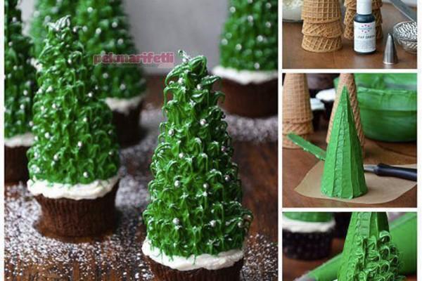 Külahtan çam ağaçı şeklinde cupcake yapımı
