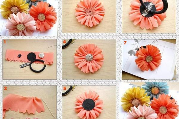 Kumaştan çiçekli lastik toka yapımı