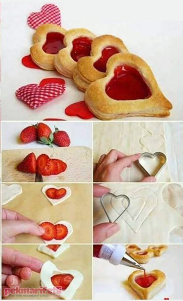 Marmelatlı kalpli milföyler