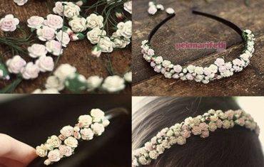 Minik güllerden taç yapımı