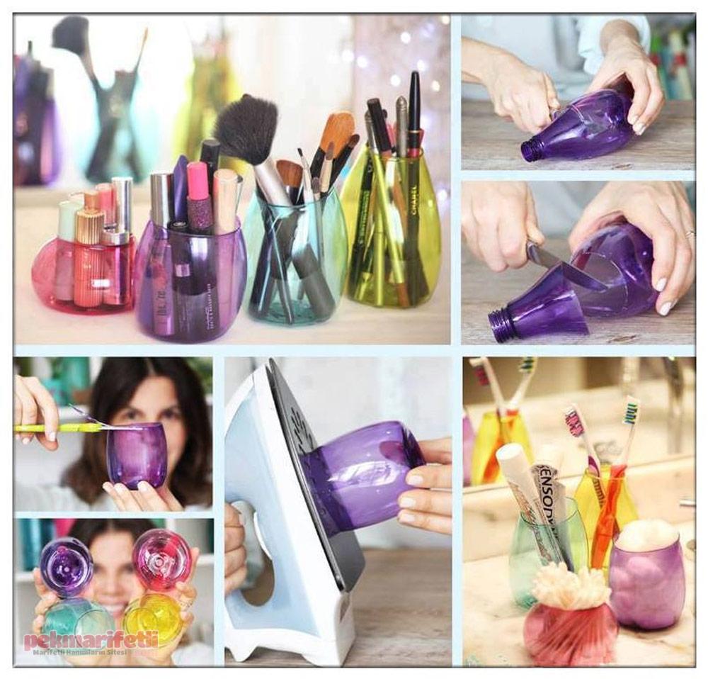 Minik pet şişelerden makyaj kutusu yapımı