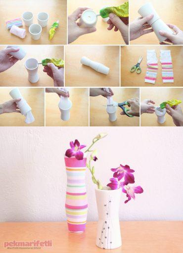 Minik saksılardan renkli vazo yapımı