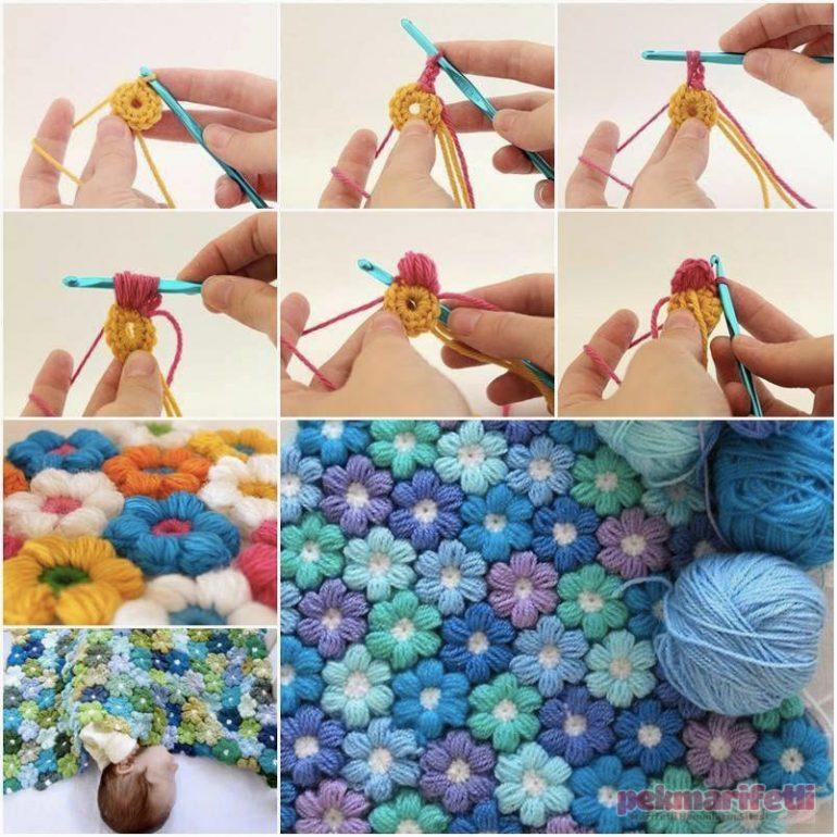 Örgü çiçeklerden paspas yapımı