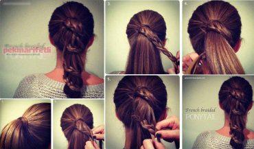 Örgülü atkuyruğu saç modeli yapımı