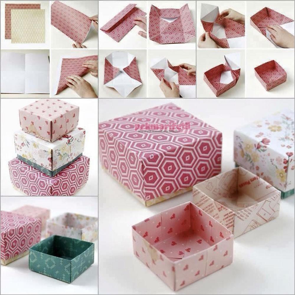 Origami Ile Hediye Kutusu Yapımı El Yapımı Pek Marifetli