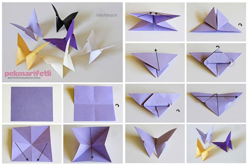 Origami tekniğiyle kağıttan kelebek yapımı