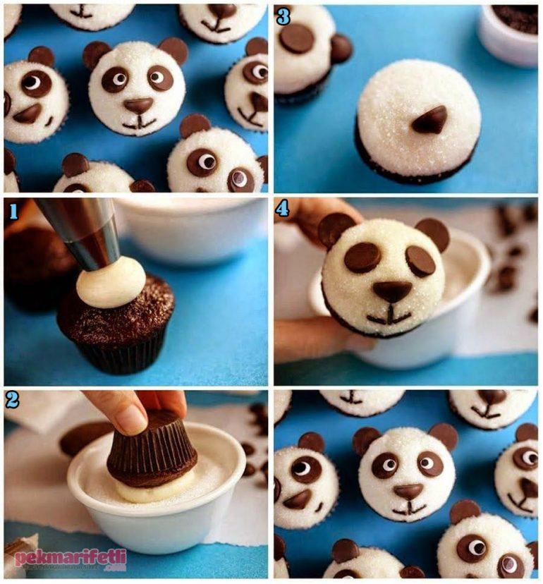 Panda görünümlü cupcake yapımı