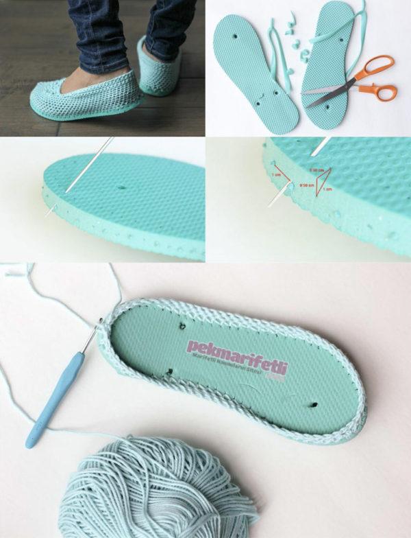 Parmak arası terlikten örgü ayakkabı yapımı