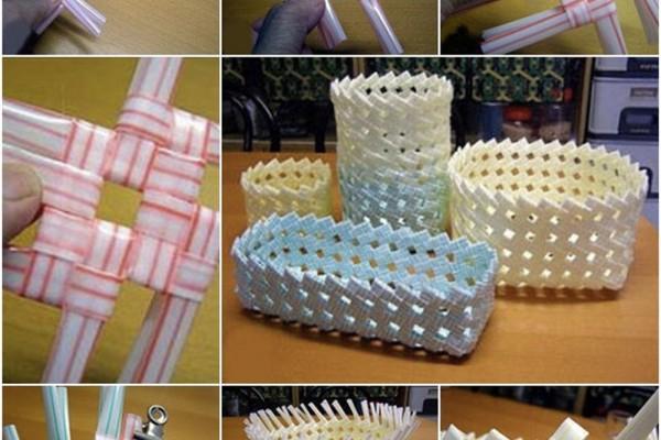 Pipetlerle örme sepet yapımı