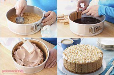 Pişmeden yapılan kolay bisküvili pasta tarifi