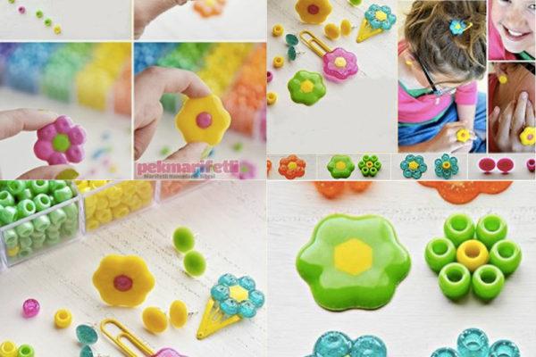 Plastik boncuktan çiçek şeklinde toka yapımı