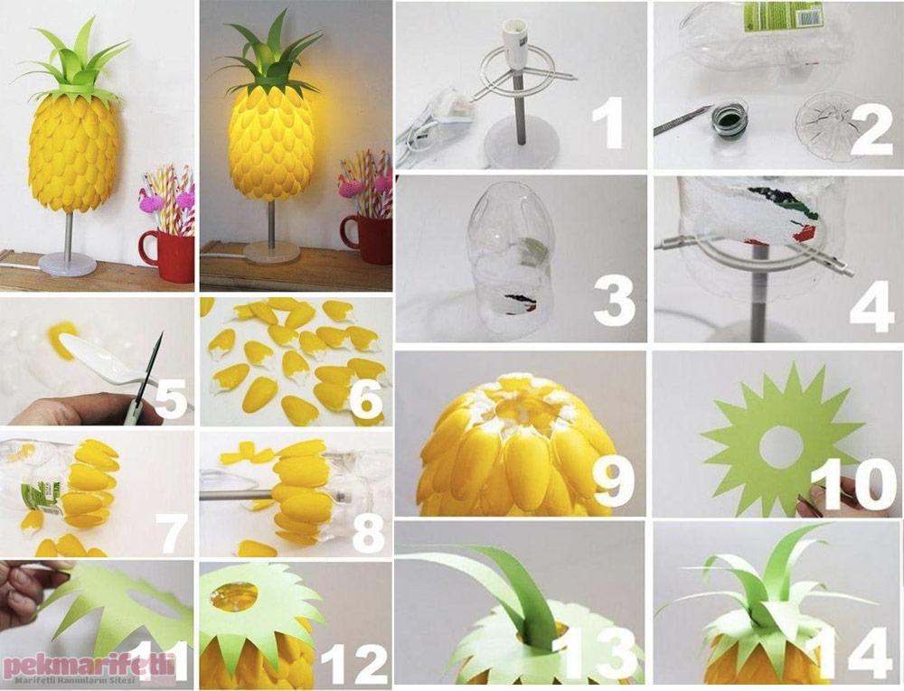 Plastik kaşıklardan ananas şeklinde avize yapımı
