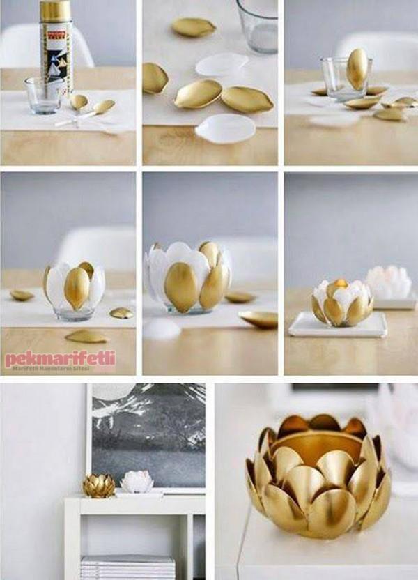 Plastik kaşıklardan mumluk yapımı
