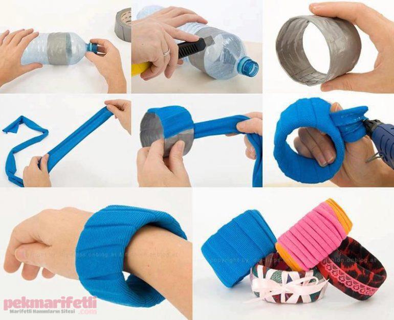 Plastik şişeden bileklik yapımı