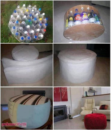 Plastik şişelerden puf yapımı