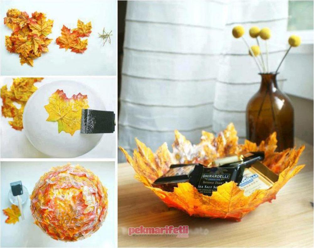 Plastik yapraklardan dekoratif tabak yapımı