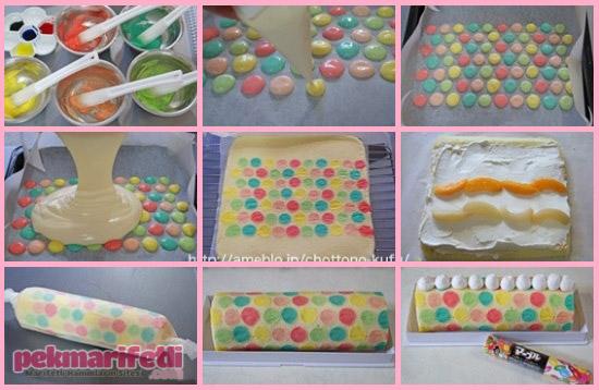 Puantiyeli rulo pasta yapımı