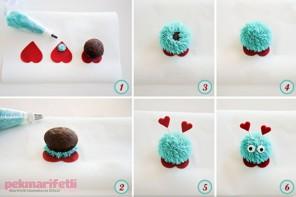 Pufidik görünümlü sevimli cupcake yapımı