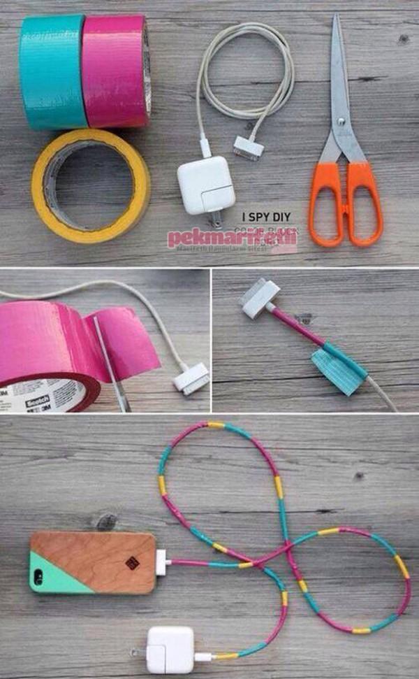 Renkli bantlarla kablo süsleme