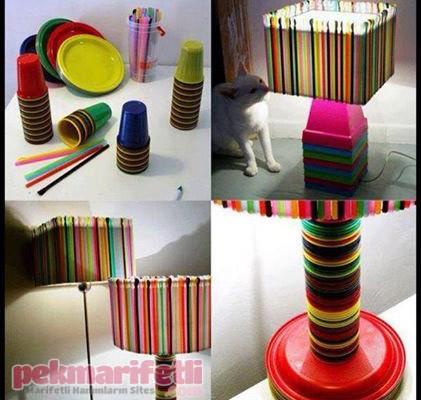 Renkli pipetlerle abajur süsleme