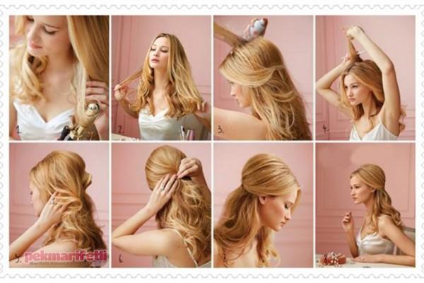 Resimli anlatımlı yarım toplu saç modeli