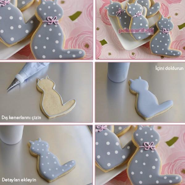 Royal icingle kedi kurabiye yapımı