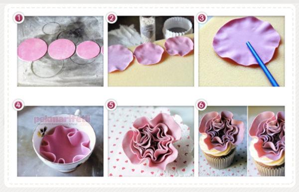 Şeker hamurundan kolay çiçek yapımı