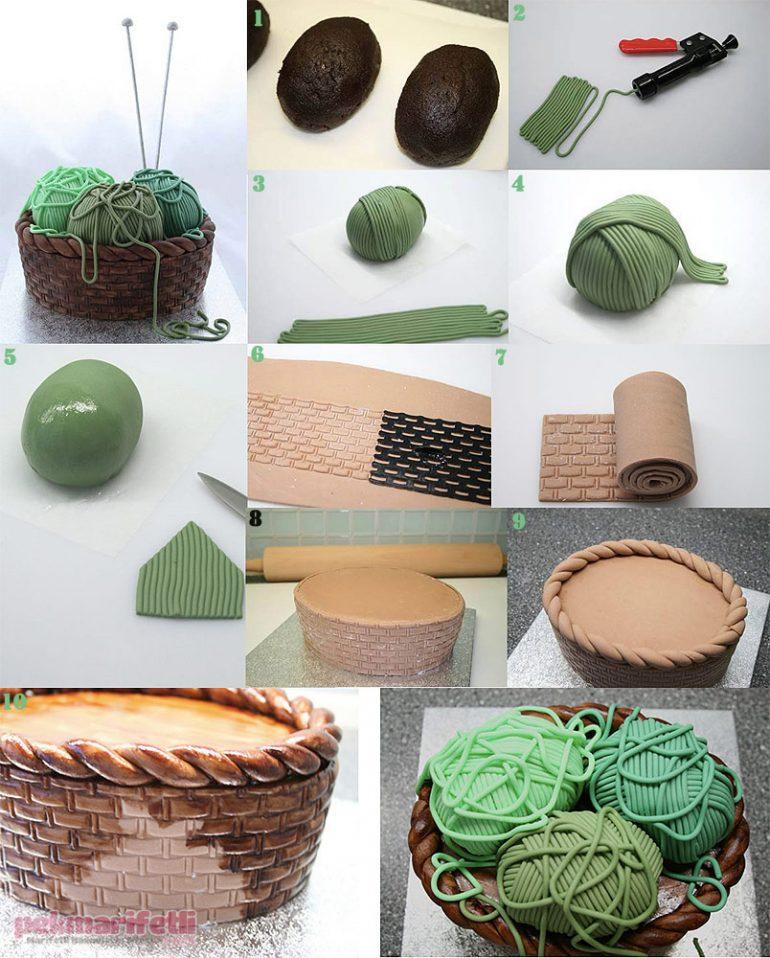 Şeker hamuruyla yün dolu sepet pasta yapımı