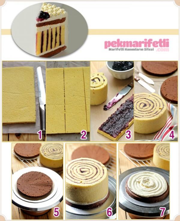 Simetrik çizgili pasta yapımı