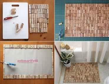 Şişe mantarlarıyla banyo paspası nasıl yapılır?