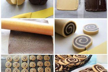 Siyah beyaz spiral kurabiye yapımı
