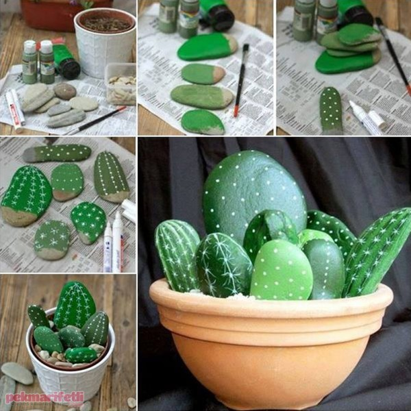 Taşlardan dekoratif kaktüs yapımı