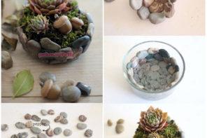 Taşlardan dekoratif saksı yapımı