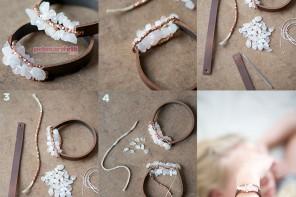 Taşlı deri bileklik yapımı
