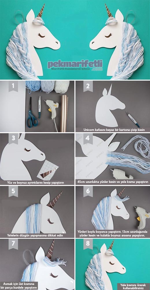 Unicorn şeklinde kapı süsü yapımı