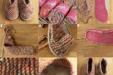 Yün ve keçeden örme ev ayakkabısı yapımı