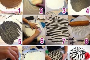 Zebra desenli şeker hamurlu pasta süslemesi