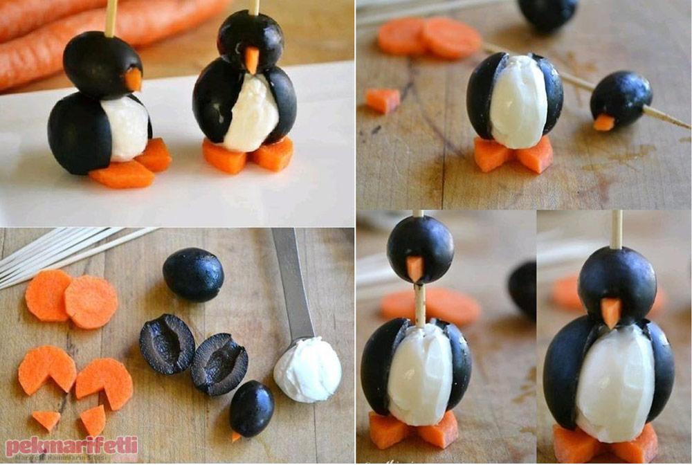 Zeytinden kahvaltılık penguen yapımı