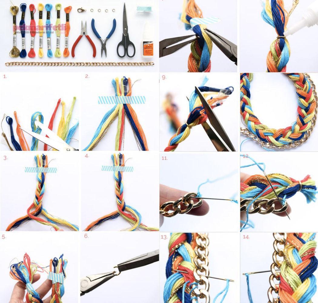 Zincirli örgü kolye nasıl yapılır?